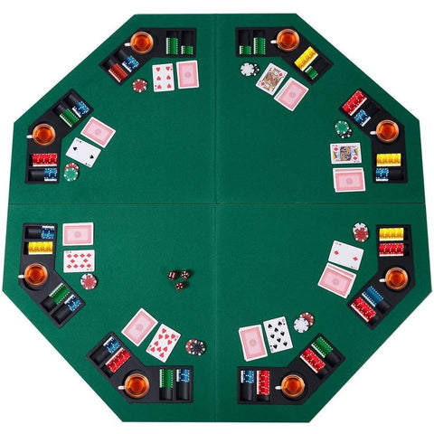 Image of Folding 48-inch Octagon 8 Player Poker Table Top with Carry Case