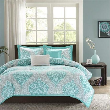 Image of Full / Queen Teal Turquoise Aqua Blue and White Damask Comforter Set