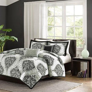 Full / Queen 5-Piece Black White Damask Print Comforter Set