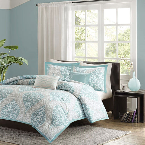 Image of Full / Queen size 5-Piece Damask Comforter Set in Light Blue White and Grey