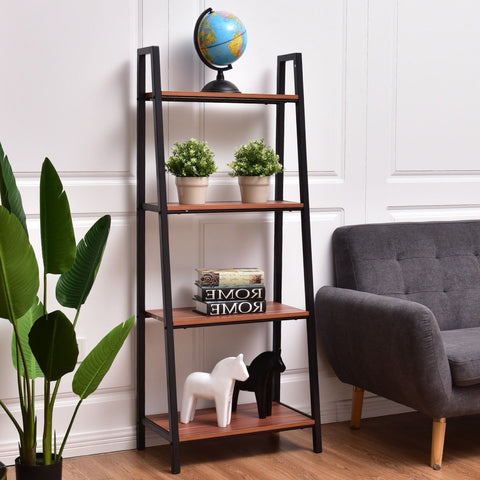 Ladder Style 4-Shelf Bookcase in Black Steel Walnut Wood Finish