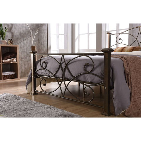 Image of Full size Gold Metal Platform Bed Frame with Headboard and Footboard