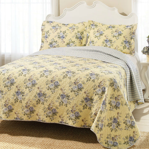 Image of Full / Queen Yellow Blue Floral Lightweight Coverlet Set