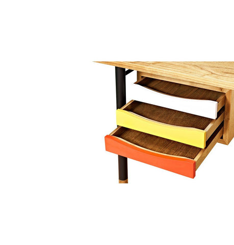 Image of Nyhavn Desk - Ash/Yellow/Red - Reproduction
