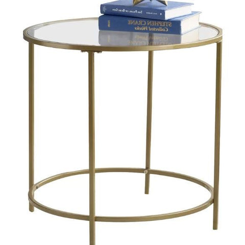 Round Glass Top End Table Nightstand with Gold Metal Frame