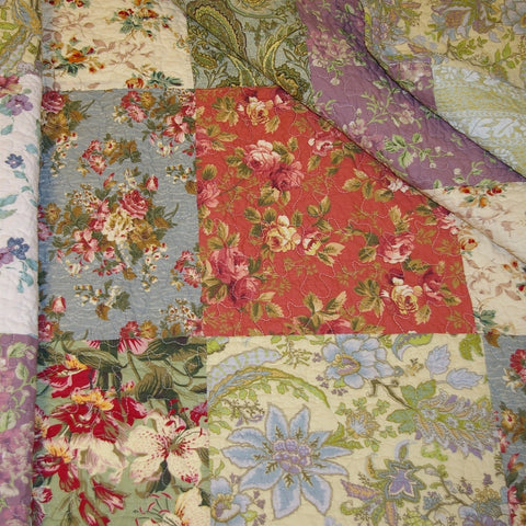 Image of Full / Queen size 100% Cotton Floral Paisley Reversible Quilt Set