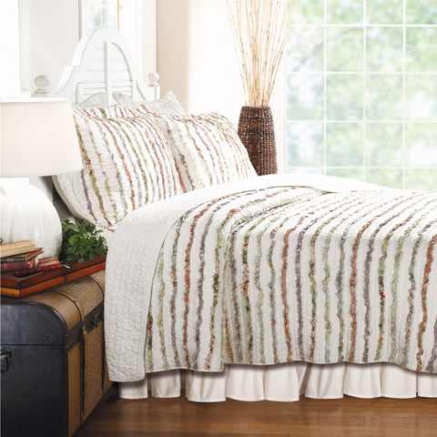 Image of Full / Queen 100% Cotton Quilt Set Ruffled Multi-color Stripes