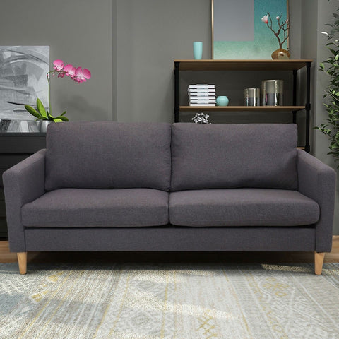 Image of Modern Mid-Century Style Grey Fabric Sofa with Wood Legs