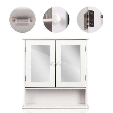 Image of White 2-Door Mirrored Medicine Cabinet with Open Shelf