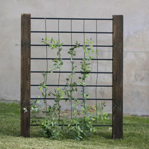 Image of 3-Ft High Sturdy Dark Wood and Steel Trellis