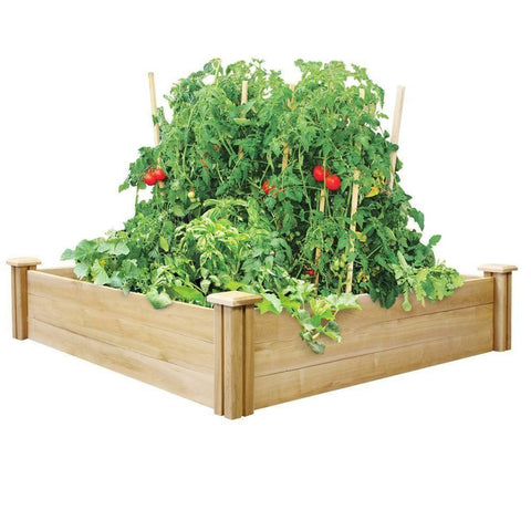 Image of 4ft x 4ft Outdoor Cedar Wood Raised Garden Bed Planter Box - Made in USA