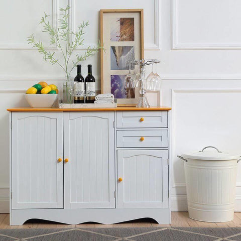 White Sideboard Buffet Cabinet with Light Wood Finish Top and Knobs