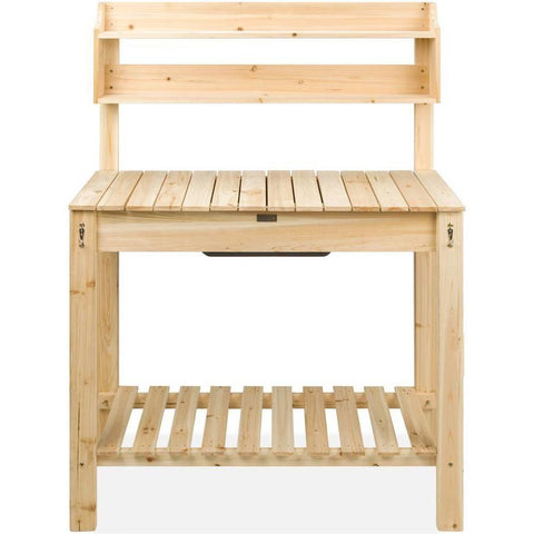 Image of Outdoor Garden Wood Potting Bench Expandable Top with Food Grade Plastic Sink