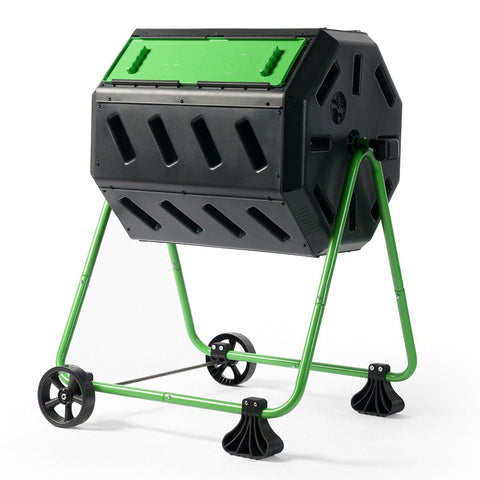 Image of Tumbler 5-Cubic Ft Compost Bin for Home Composting with Heavy Duty Frame