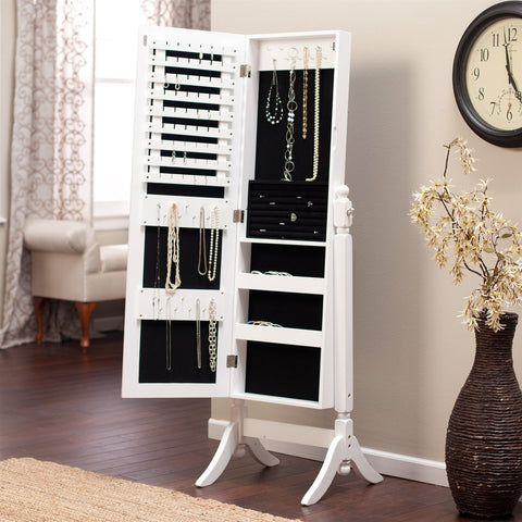 Full Length Tilting Cheval Mirror Jewelry Armoire Cabinet in Gloss White