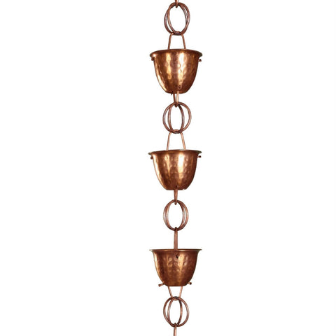 Image of Hammered Copper Cups 8.5-Feet Rain Chain Rain Gutter Downspout Alternative