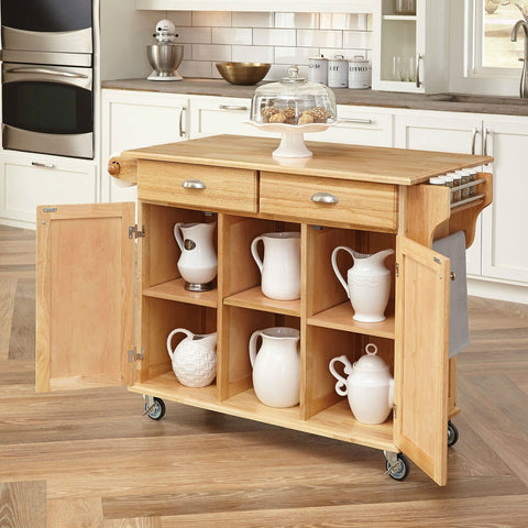 Natural Wood Finish Kitchen Island Cart with Locking Casters