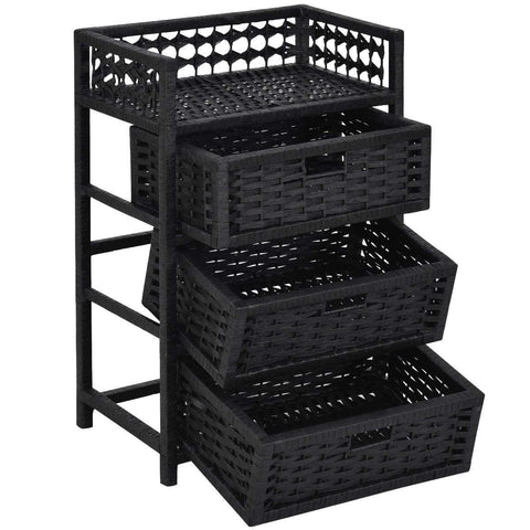 Black Wicker Storage Chest 3 Drawers Top Shelf