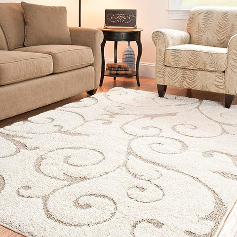 Image of Hand-woven Ultimate Cream/ Beige Shag Rug (5'3 x 7'6)