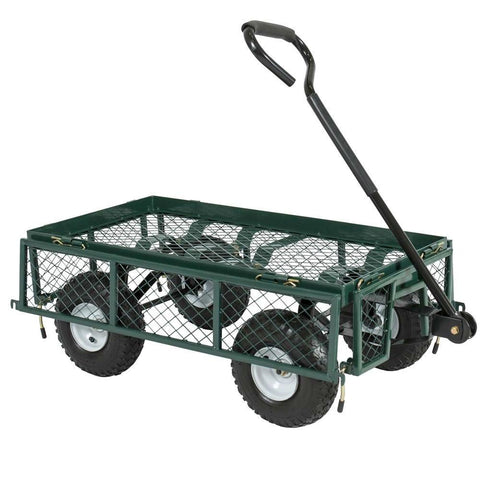 Image of Heavy Duty Green Steel Garden Utility Cart Wagon with Removable Sides