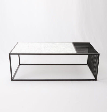 Image of Wilma Marble & Iron Coffee Table - Rectangular