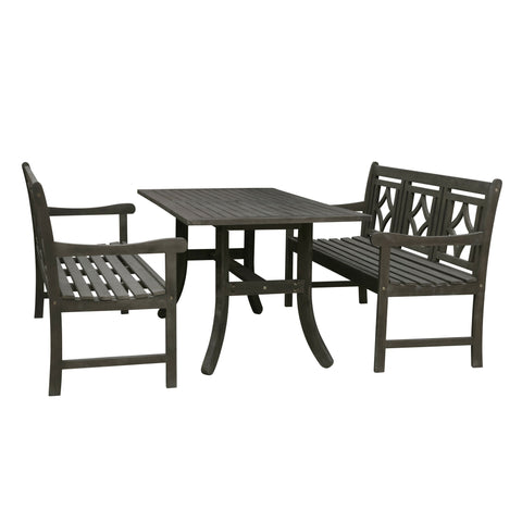 Image of 3-piece Wood Renaissance Outdoor Patio Dining Set