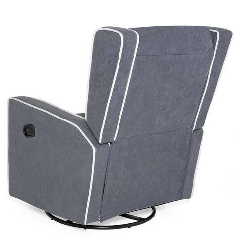 Image of Modern Gray Wingback Polyester Upholstered Swivel Recliner Rocking Chair