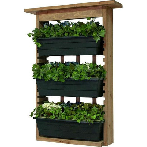 Image of 3 Piece Indoor/Outdoor Wood Wall Planter Vertical Garden