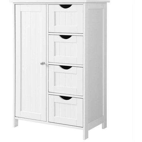 4 Drawer Adjustable Shelf White Bathroom Storage Cabinet