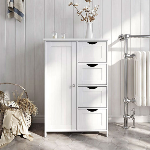 Image of 4 Drawer Adjustable Shelf White Bathroom Storage Cabinet