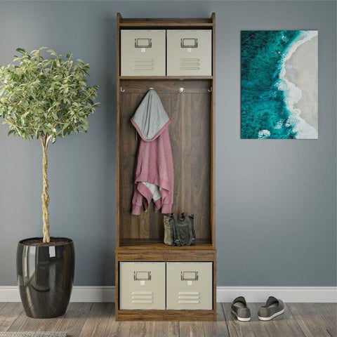 Image of Walnut Locker Coat Rack Entryway Hall Tree with 4 Storage Cubes