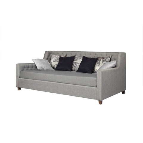 Twin size Grey Linen Upholstered Day Bed with Tufted Detailing and Wood Legs