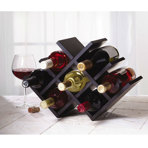 Image of 8-Bottle Mariposa Wine Rack Modern Design Dark Brown Finish