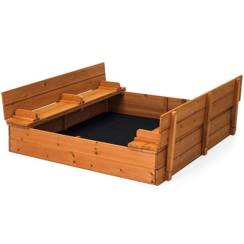 Image of Sturdy Brown Cedar Kids Complete Seated Bench Sandbox