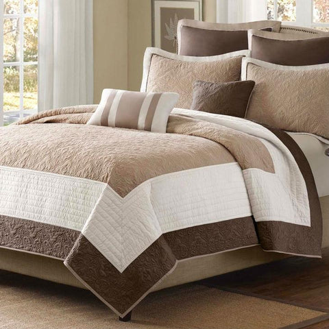 Image of King Brown Ivory Tan Cream 7 Piece Quilt Coverlet Bedspread Set