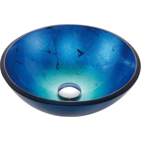 Image of Round Blue Tempered Glass Vessel Bathroom Sink