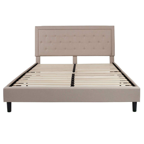 Image of King Beige Upholstered Platform Bed Frame with Button Tufted Headboard