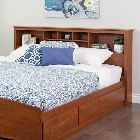 Image of King size Bookcase Headboard with Adjustable Shelf in Cherry Finish