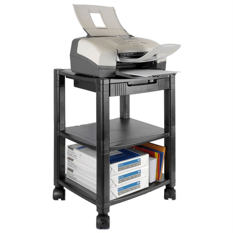 3-Shelf Mobile Printer Stand with Organizer Drawer in Black