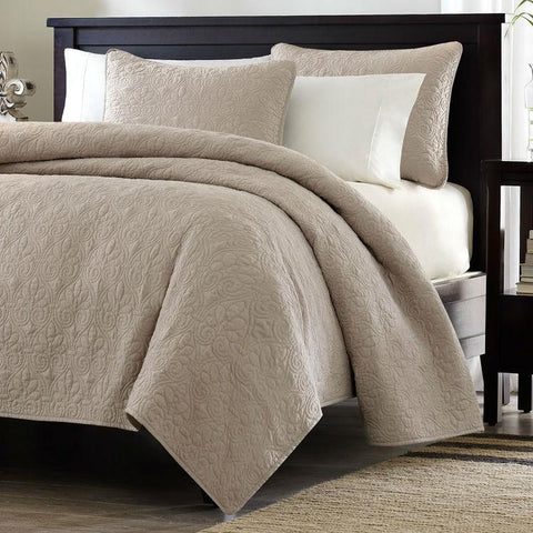 Image of Full / Queen size Khaki Light Brown Tan Coverlet Quilt Set with 2 Shams