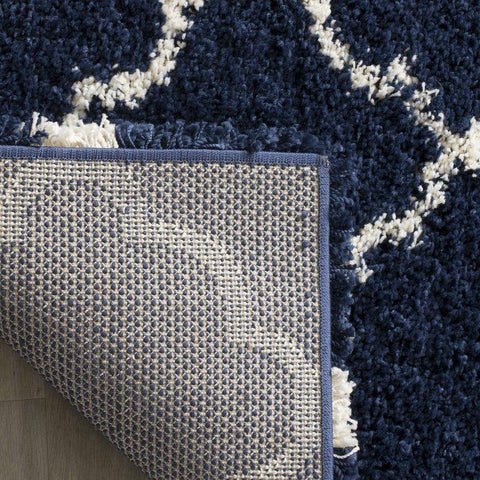 Image of 8' x 10' Shag Extra Plush Geometric Indoor Blue/Beige Area Rug