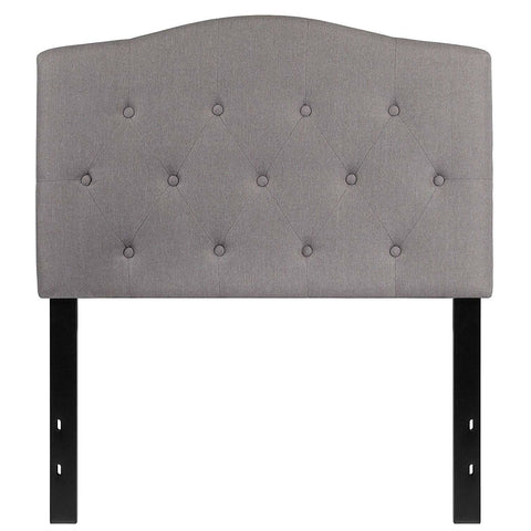 Image of Twin size Light Grey Upholstered Button Tufted Headboard