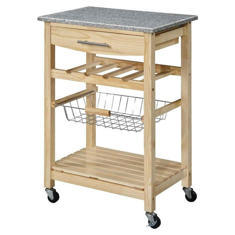 Natural Wood Finish Kitchen Island Cart with Granite Top