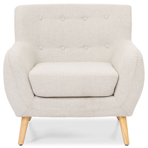 Image of Light Grey Upholstered Tufted Armchair with Mid-Century Style Wood Legs