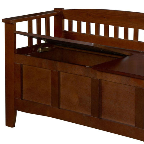 Image of Split Seat Storage Accent Bench in Walnut Wood Finish