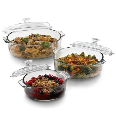 Image of 6-Piece Round Glass Casserole Cookware Bakeware Set with Lids