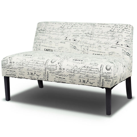 Image of Modern Loveseat Sofa with Off-White Cursive Pattern Upholstery and Black Wood Legs