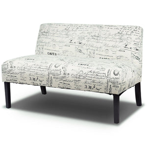 Modern Loveseat Sofa with Off-White Cursive Pattern Upholstery and Black Wood Legs