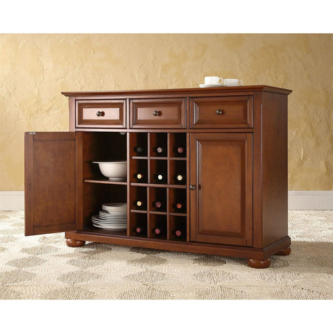 Image of Cherry Wood Dining Room Storage Buffet Cabinet Sideboard with Wine Holder