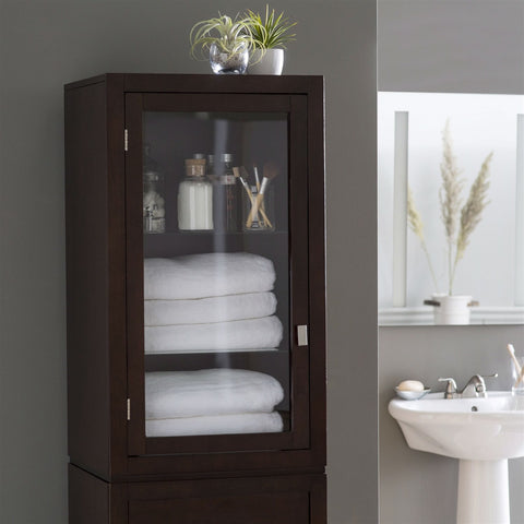 Espresso Wood Linen Tower Bathroom Storage Cabinet with Glass Paneled Door